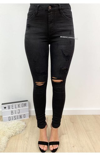 QUEEN HEARTS JEANS - BLACK - DISTRESSED SKINNY JEANS MID HIGH WAIST - 586