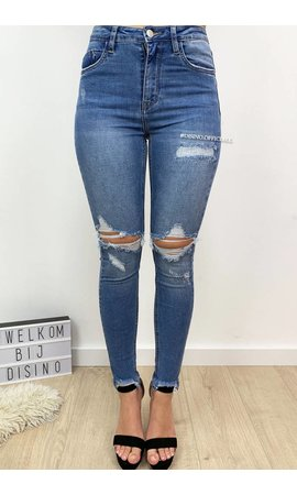 QUEEN HEARTS JEANS - LIGHT BLUE - DESTROYED SKINNY JEANS HIGH WAIST