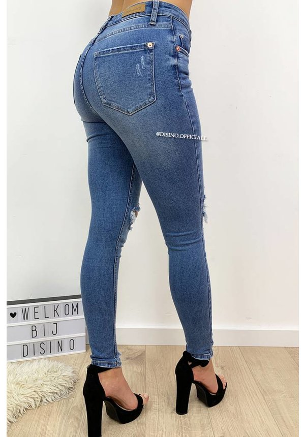 QUEEN HEARTS JEANS - LIGHT BLUE - DESTROYED SKINNY JEANS HIGH WAIST - 611