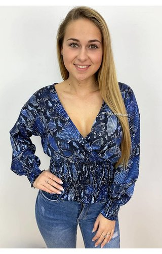 ROYAL BLUE - 'CARLA' - SNAKE PRINT OVERLAY TOP
