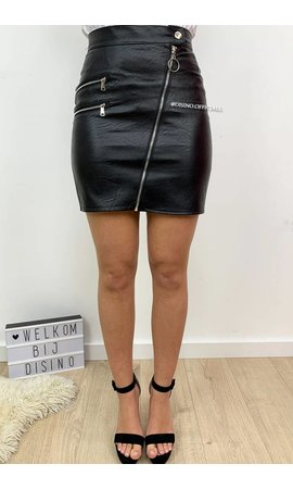 BLACK - 'JACKY' - CROSSED ZIPPER MINI SKIRT