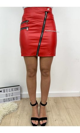 RED - 'JACKY' - CROSSED ZIPER MINI SKIRT