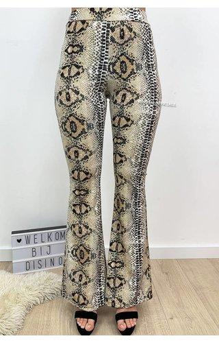 BEIGE - 'SENNA' - LEOPARD BEST FLARED PANTS