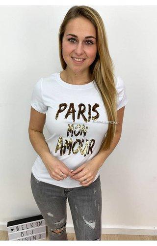 WHITE - 'PARIS MON AMOUR' - APPLICATION TEE