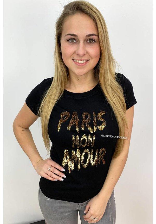 BLACK - 'PARIS MON AMOUR' - APPLICATION TEE