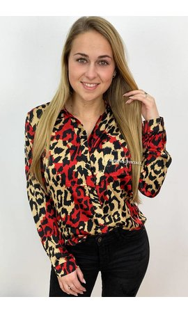 RED - 'LESLEY' - OVERSIZED SATIN LOOK LEOPARD BLOUSE