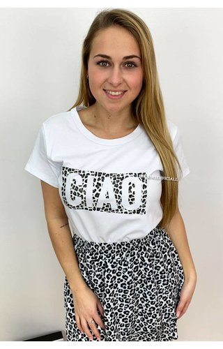 GREY - 'CIAO' - BOXED LEOPARD TEE
