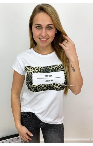 WHITE - 'SPECIAL DAY' - LEOPARD PREMIUM QUALITY OVERSIZED TEE