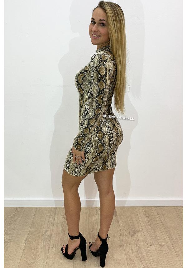 BEIGE SNAKE - 'LISANNA' - SUPER SOFT LONGSLEEVE DRESS