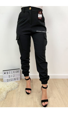 BLACK - 'CIARA' - CARGO PANTS