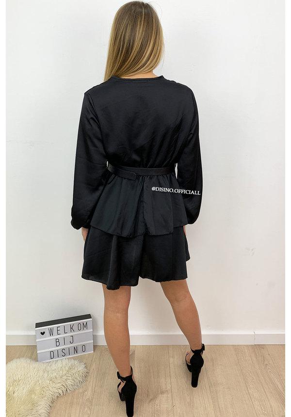 BLACK - 'LEXI' - SATIN LAYERED RUFFLE DRESS