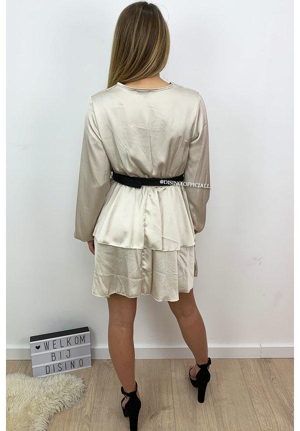 BEIGE - 'LEXI' - SATIN LAYERED RUFFLE DRESS