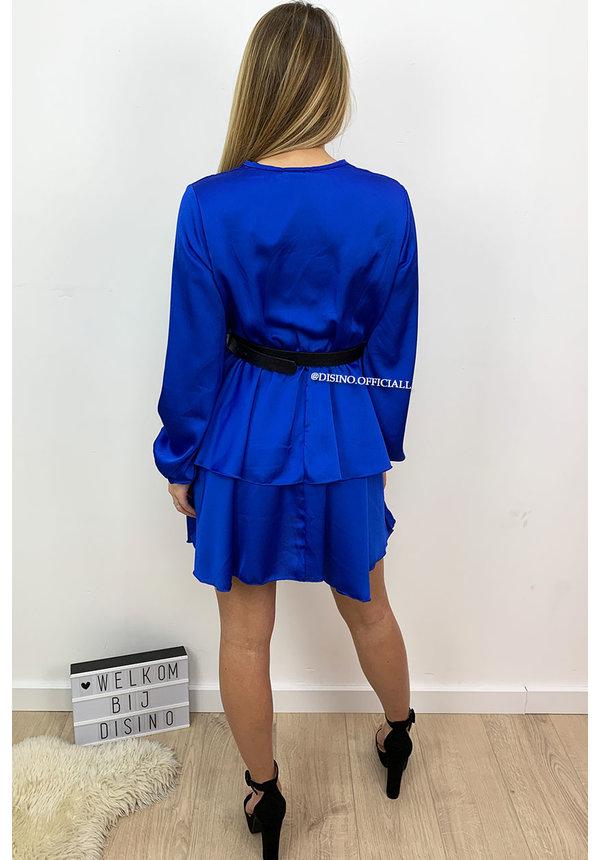 ROYAL BLUE - 'LEXI' - SATIN LAYERED RUFFLE DRESS