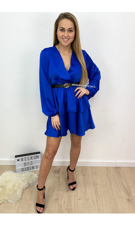 ROYAL BLUE - 'LEXI' - SATIN LAYERED RUFFLE DRESS