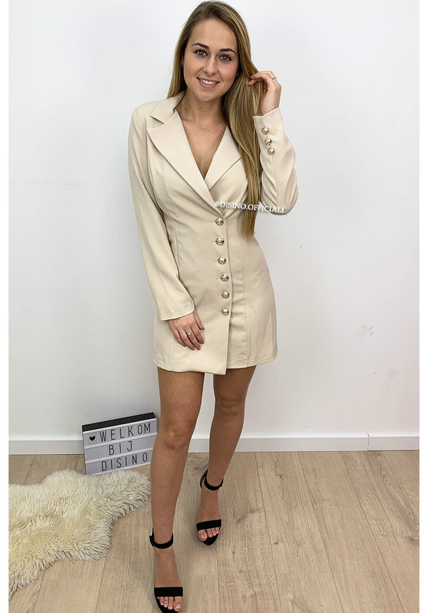 BEIGE - 'VERONICA' - GOLD BUTTON BLAZER DRESS