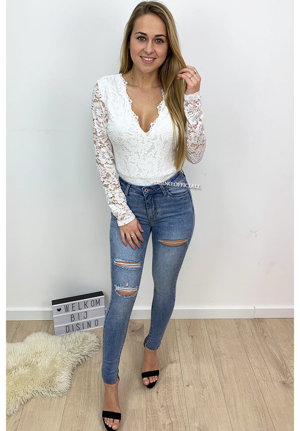 WHITE - 'LANA' - ALL-OVER LACE BODYSUIT