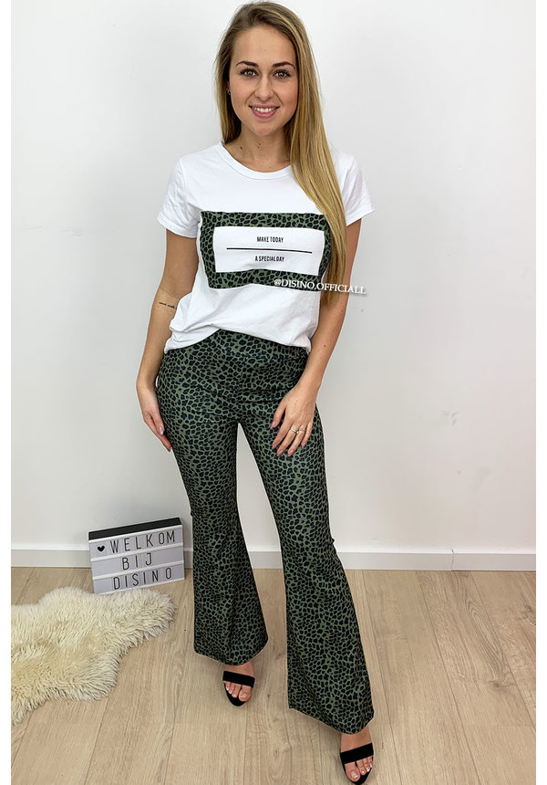 KHAKI GREEN - 'A SPECIAL DAY' - LEOPARD PRINT FLARE SET TWO PIECE