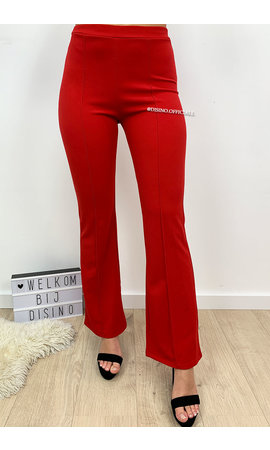 RED - 'FLORA' - HIGH WAIST SLIM FIT FLARED PANTS