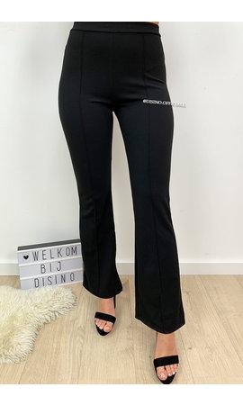 BLACK - 'FLORA' - HIGH WAIST SLIM FIT FLARED PANTS