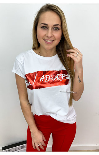 RED - 'BRUSHED J'ADORE' - PREMIUM QUALITY OVERSIZED TEE