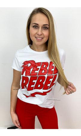 WHITE - 'REBELZ' - RED TEXT REBEL REBEL TEE