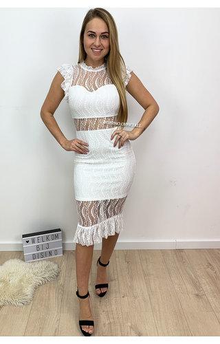 WHITE - 'VALENTINA' - LACE PENCIL DRESS