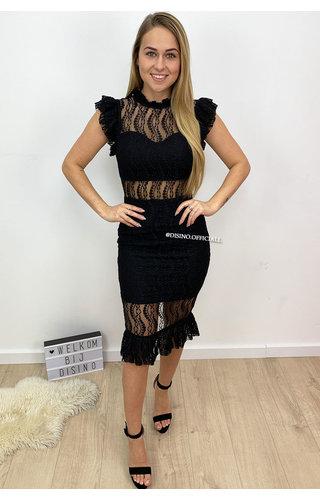 BLACK - 'VALENTINA' - LACE PENCIL DRESS