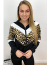 WHITE - 'AMBER' - LEOPARD STRIPED TRACK SUIT