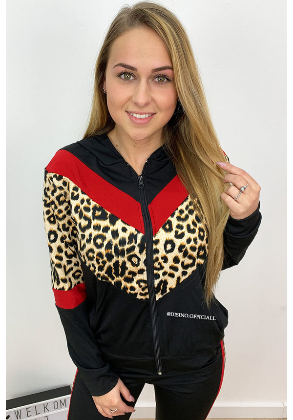RED - 'AMBER' - LEOPARD STRIPED TRACK SUIT