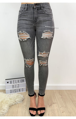 QUEEN HEARTS JEANS - LIGHT GREY - DISTRESSED SKINNY MEDIUM HIGH WAIST - 9526