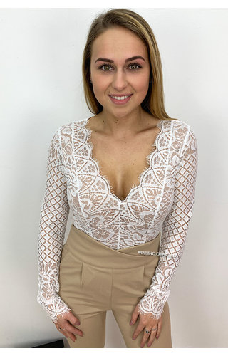 WHITE - 'LUCY' - LONG SLEEVE LACE BODYSUIT