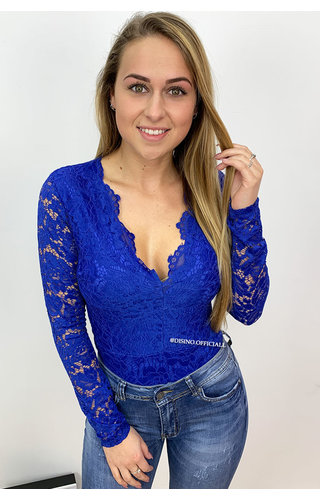 ROYAL BLUE - 'LANA' - ALL-OVER LACE BODYSUIT