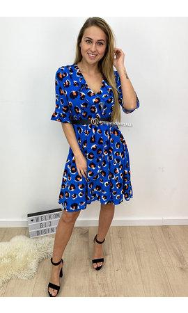 ROYAL BLUE - 'ELLE' - LEOPARD RUFFLE DRESS