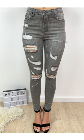 QUEEN HEARTS JEANS - GREY - DISTRESSED SKINNY JEANS MID HIGH WAIST - 586
