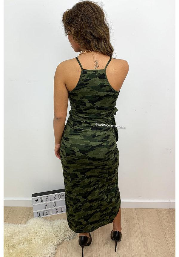 CAMO - 'BAILEY' - WRAP ON WING DRESS