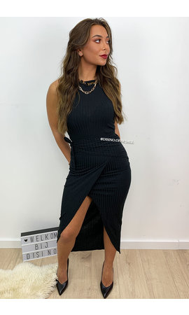 BLACK - 'BAILEY' - RIBBED WRAP ON WING DRESS