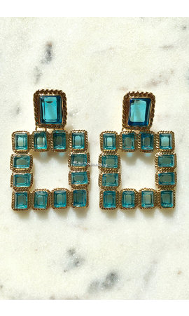 GOLD - BLUE PAPAGAYO EARRINGS