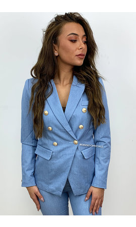 BLUE - 'DIANA' - PREMIUM QUALITY GOLD BUTTON BLAZER