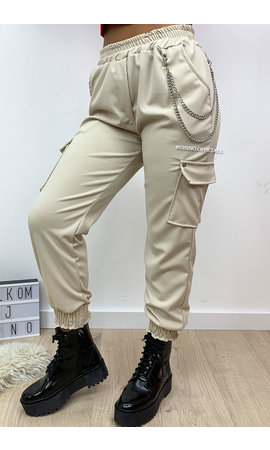 BEIGE - 'HEATHER' - CARGO PANTS WITH CHAINS