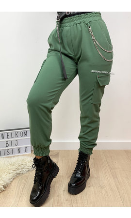 KHAKI GREEN - 'HEATHER' - CARGO PANTS WITH CHAINS