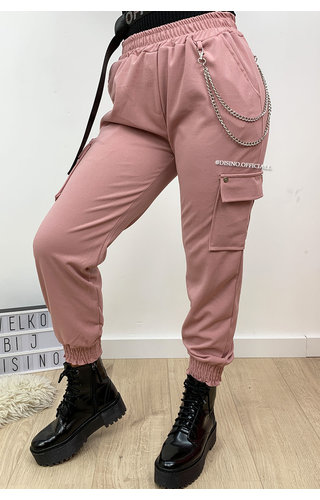 PINK - 'HEATHER' - CARGO PANTS WITH CHAINS