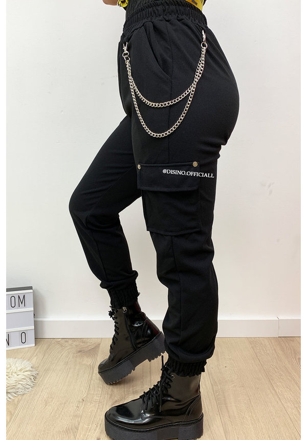 BLACK - 'HEATHER' - CARGO PANTS WITH CHAINS