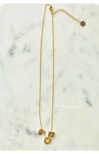 GOLD - SUN WITH HEART NECKLACE
