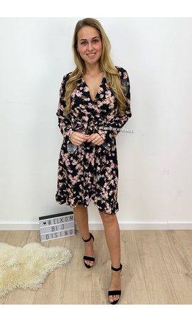 BLACK - 'CELINA' - CUTE FLOWER RUFFLE DRESS