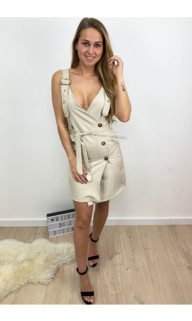 BEIGE - 'BRIA' - BELTED CARGO V-DRESS
