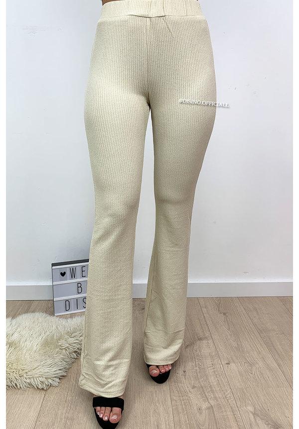 BEIGE - 'JANE' - RIBBED SUPER COMFY FLARED PANTS