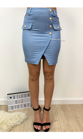 BLUE - 'DIANA' - PREMIUM QUALITY GOLD BUTTON SKIRT
