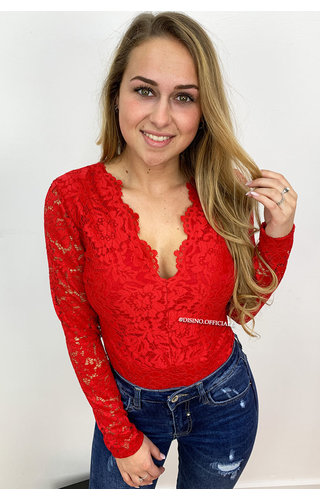 RED - 'LANA' - ALL-OVER LACE BODYSUIT