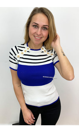 ROYAL BLUE - 'GLORIA' - GOLD BUTTON RIBBED SHORT-SLEEVE TOP