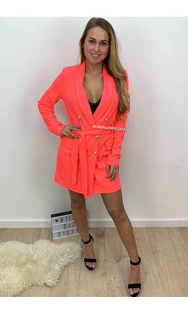NEON CORAL - 'ALICE' - DOUBLE BREASTED GOLD BUTTON JACKET DRESS